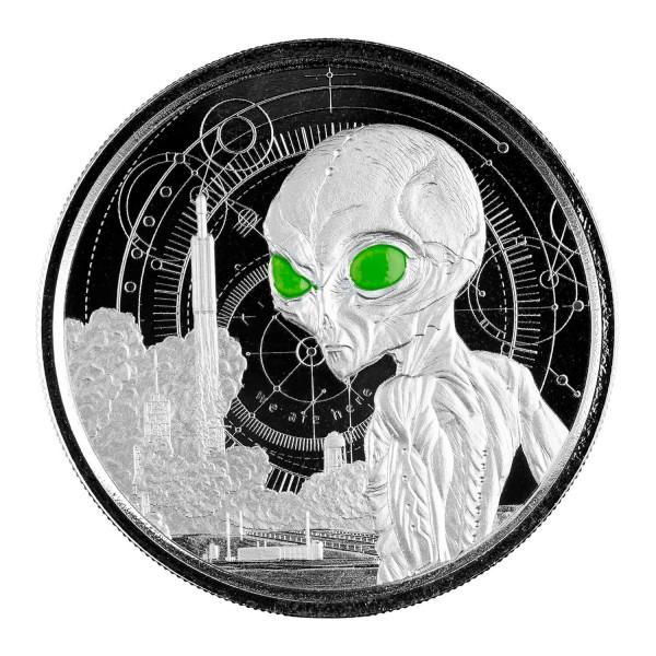 Ghana Alien, 1 Oz Silbermünze coloriert Proof, 2021