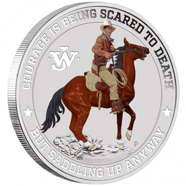 John Wayne, 1 Oz Silbermünze coloriert, 2021