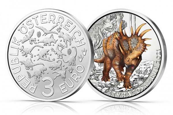 3 Euro Dinotaler STYRACOSAURUS ALBERTENSIS