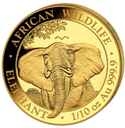 Somalia Elefant, 1/10 Oz Goldmünze, 2021